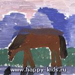 Алтайские горы с лошадью. Автор Троицкая Валя, 9 лет.
